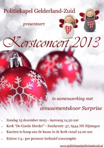 Poster Politiekapel Gelderland-Zuid - Kerstconcert 2013 - 2