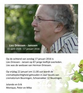 Rouwkaart Lies Driessen-Jansen facebook